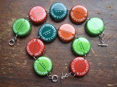 Items similar to How Much Wood... beer bottle cap bracelet on Etsy
