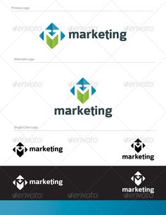 Marketing Abstract Logo Design - LET-034 M letter logo design, Full Vector Logo.  Graphics Files Included: 1- logo.eps 2- logo.pdf 3- logo.ai 4- marketing-logo.jpg  Fonts used in the design are free fonts. Font Name: Colaborate