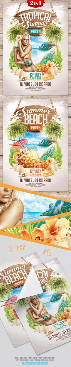 Summer Party Flyer — Photoshop PSD #tropical #wood • Download ➝ https://graphicriver.net/item/summer-party-flyer/21463225?ref=pxcr