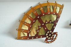 Steampunk Leather and Brass Fan