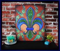 Peacock Painting - Fleur De Lis Angela Venable Art