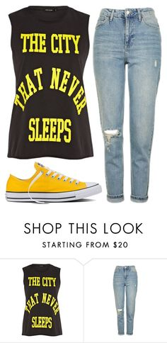 """Untitled #7947"" by beatrizibelo ❤ liked on Polyvore featuring River Island, Topshop and Converse"
