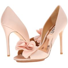 Badgley Mischka Blossom (Pink Satin/Silk) High Heels (500 BRL) ❤ liked on Polyvore featuring shoes, pumps, pink, open-toe pumps, badgley mischka pumps, high heel pumps, pink floral pumps and platform pumps