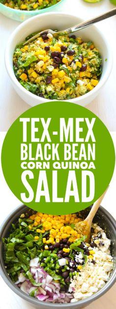 SIMPLE, EASY, QUICK quinoa salad! Tex-Mex Black Bean Corn Quinoa Salad