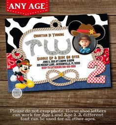 Mickey Mouse Cowboy Invitation Western Mickey Mouse