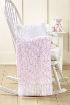 Pretty pink baby afghan!  Leisure Arts #5949
