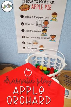 Create an apple orchard in your dramatic play center!  It's fun and educational way for your preschool or pre-k students to practice social skills. Preschool Learning Activities, Preschool Classroom, Classroom Organization, Organization Ideas, Dramatic Play Centers, Thematic Units, Play Centre, Apple Orchard, Early Education