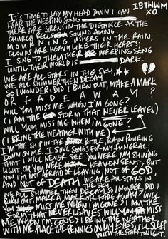 I Bring The Weather With Me lyrics - handwritten by Joel Birch/ The Amity Affliction