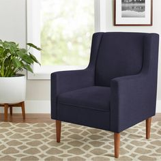 Flynn Mid Century Modern Lounge Chair, Midnight