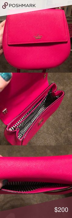 Kate Spade crossbody purse-bright pink Kate Spade crossbody purse-bright pink. It's the Cameron Street. Only used a handful of times. kate spade Bags Crossbody Bags