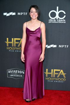 Tatiana Maslany wore a plum silk satin Diane Von Furstenberg slip dress to the 2017 Hollywood Film Awards.​ She completed her look with Stuart Weitzman heels Best Celebrity Dresses, Tatiana Maslany, Satin Slip, Silk Satin, Film Awards, Awards 2017, Red Carpet Fashion, Girl Crushes, Diane Von Furstenberg