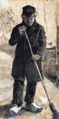 A Man with a Broom by Vincent Van Gogh - #art