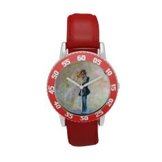 Wedding Day Whimsical Designer Art Bezel Watch Red Exquisitely gorgeous, you will find overwhelming appeal in our Stunning Wedding Dance Whimsical Designer Art Watch Collection. This unique and  magnificent collection features a stunning color palette inspired by the lush green gardens of the English Country-side. The perfect Wedding Gift! Designed by artist Marie-Jose Pappas of Innocent Originals. http://www.zazzle.com/innocentoriginals*