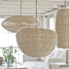 Natural: Jute Coastal Decor Hanging Pendant Lighting | collection by Regina Andrew.