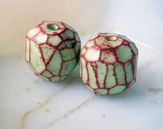 Handmade Polymer Clay Beads - 2 Rustic Faceted Beads - Mint Green, Fruit Punch - Primitive Spring - Handmade Polymer Clay Bead Set