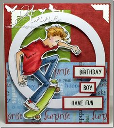 LOTV - Oliver Skateboarding by Anne Richardson - LOTV stamps - Enschulung 16th Birthday Card, Birthday Cards For Boys, Man Birthday, Boy Cards, Kids Cards, Teenage Boy Birthday, Tampons, Pretty Cards, Masculine Cards