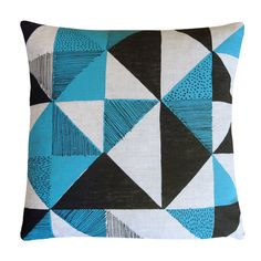 Geometric screen-printed cushion, by Peris & Corr, hand-printed in Wales
