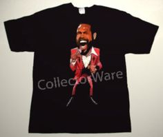 MARVIN GAYE cartoon 2 CUSTOM ART UNIQUE T-SHIRT   Each T-shirt is individually hand-painted, a true and unique work of art indeed!  To order this, or design your own custom T-shirt, please contact us at info@collectorware.com, or visit to http://www.collectorware.com/tees-marvin_gaye.htm