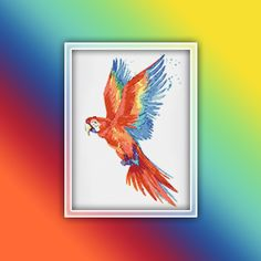 Ara Parrot Cross Stitch Pattern 2 Instant PDF Download - Parrot Watercolor Cross Stitch Pattern - Macaw Cross Stitch Pattern Extra Fabric, Parrot, Cross Stitch Patterns, Free Images, Moose Art, Custom Design, How Are You Feeling, Pdf, Watercolor