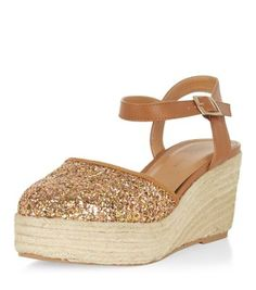 Wide Fit Gold Glitter Front Wedge Espadrilles