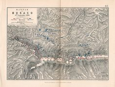 """Battle of Busaco 27th September, 1810"""" by Alexander Keith Johnston. F.R.G.S. published by William Blackwood and Sons in 1855. The plan shows the positions of the Allies and the French Cavalry, Infantry and Artillery. Original colouring and has a central fold."""