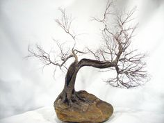 Copper wire tree - Bonsai style  - Art sculpture - natural rock - recycled material - Wabi sabi