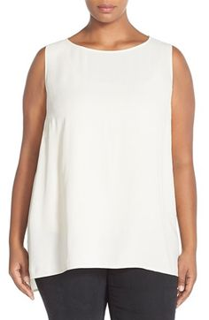 Eileen Fisher Long Bateau Neck Silk Shell (Plus Size) available at #Nordstrom