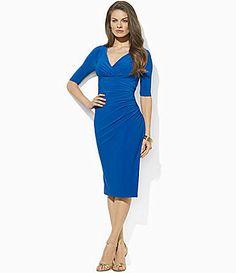 Lauren Ralph Lauren V-Neck Matte Jersey Dress | Dillards.com