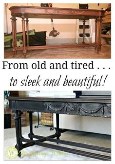 From the flea market to the living room--upcycled entry table becomes sleek coffee table!