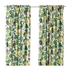 SYSSAN Gardinenpaar, weiß/grün - weiß/grün - IKEA