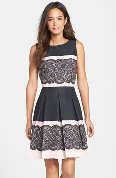 Free shipping and returns on Tahari Lace Print Pleated Fit & Flare Dress (Regular & Petite) at Nordstrom.com. A gorgeous lace print lends romantic charm to a blush-and-black dress flared with crisp inverted pleats.