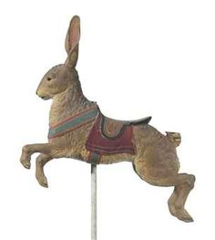 A CARVED AND PAINTED CAROUSEL RABBIT   ATTRIBUTED TO GUSTAV A. DENTZEL, PHILADELPHIA, LATE 19TH CENTURY/EARLY 20TH CENTURY