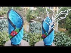 3D Origami Flower Vase V18 Tutorial | DIY Paper Flower Vase Home Decoration - YouTube