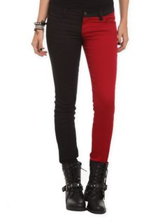 Royal Bones By Tripp Blood Red And Black Split Leg Skinny Jeans | Hot Topic