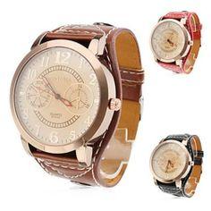 CA10 Men's Women's Big Dial Wide Bold PU Leather Band Analog Quartz Wrist Watch