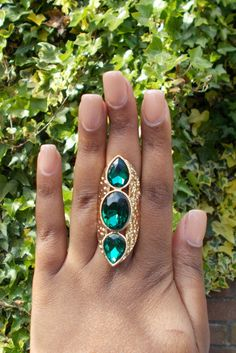 3 Stone Ring Emerald Ring Black Ring Long by BreakingHeartsJewels 3 Stone Rings, Midi Rings, Boho Rings, Black Rings, Statement Rings, Emerald, Turquoise, Trending Outfits, Unique Jewelry