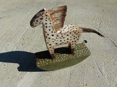 OOAK Rocking Horse / Mustang / Unique Painted Rustic Wood Sculpture Art  Painted and patinated old wood. Standing sculpture (does not swing). With