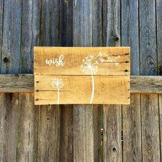 Wish rustic dandelion pallet art hand by TexasRusticWoodDecor