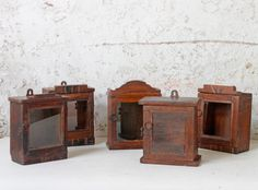 Once upon a time these superb teak square-windowed mini clock case cabinets housed a wind-up clockwork mechanism and would have been prized domestic timepieces. Shabby Chic Style, Shabby Chic Decor, Square Windows, Vintage Display, Antique Clocks, Nautical Home, Cupboard Storage, Teak, Art Deco