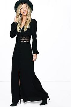 Boutique Kia Lace Waist Sleeve Button Maxi Dress
