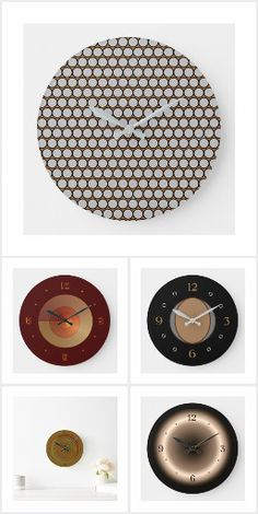 A wide collection of creative clocks in Tan/Brown from orientcourt/zazzle Enjoy! Minimalist Clocks, Kitchen Clocks, Glow Effect, Brown Kitchens, Factory Design, Great Gifts For Men, Large Clock, Creative Walls, Wall Design