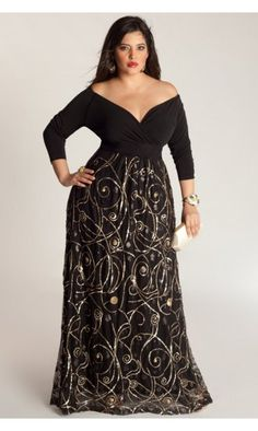 IGIGI by Yuliya Raquel Kandinsky Gown In Black & Gold #womensjumpsuitsformal Vestidos Plus Size, Vestidos Gg, Plus Size Gowns, Plus Size Evening Gown, Plus Size Formal Dresses, Plus Size Outfits, Evening Gowns, Formal Gowns, Formal Wear