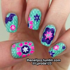 Inspired by a tissue box! Colors used: Essie-turquoise and...