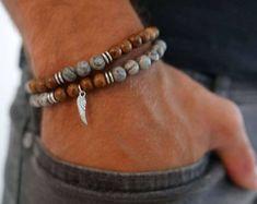 5993e4710791 Men s Bracelet Set - Men s Beaded Bracelet - Men s Jewelry - Men s Gift -  Boyfriend Gift