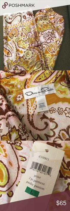 🍓 NWT Oscar de la Renta Pajamas NWT Oscar de la Renta Pajamas. Boxy top and pants with a silky soft feel. 100% Polyester. Beautiful colors of gold, sage green, brown and blush. Size Large. Oscar de la Renta Sleepwear Intimates & Sleepwear Pajamas