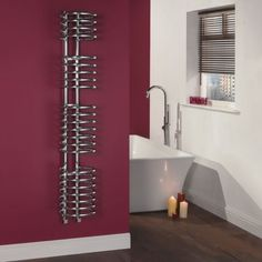 Spiral design heated towel rail for a contemporary finish to any bathroom.