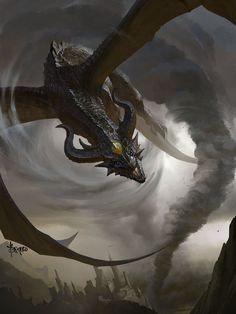 Storm Dragon by Bayard Wu (Fantasy Art Watch) World Of Fantasy, Dark Fantasy, Fantasy Artwork, Magical Creatures, Fantasy Creatures, Cool Dragons, Dragon Artwork, Dragon Drawings, Dragon Pictures