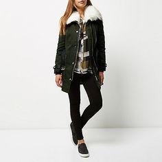Khaki faux fur collar parka - coats - coats / jackets - women