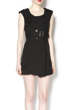 Black mini belted dress with button detail. MBD (mini black dress), a must have!   black mini dress by Freeway. Clothing - Dresses Chicago, Illinois