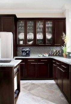 Espresso Kitchen Cabinets Glass Doors Tile Flooring #kitchen #espresso # Cabinets #furniture
